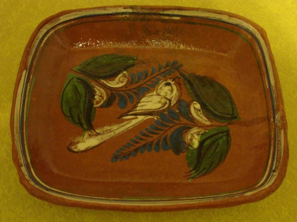 Vintage Tlaquepaque Mexican Square Bowl Tray with Beautiful Bird Design