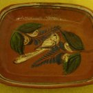 Vintage Tlaquepaque Mexican Square Bowl Tray with Beautiful Bird Design