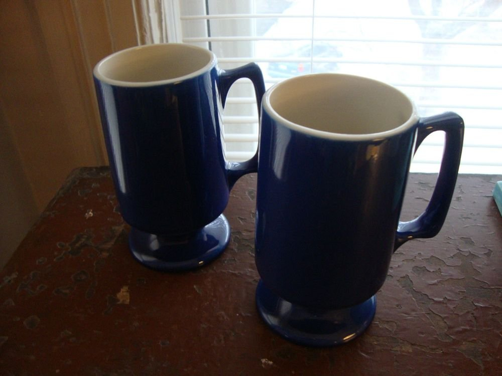Pair Hard to Find Mid Century Modern Cobalt Blue Hall Footed Mugs
