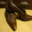 Early 1900s Edwardian Brown Leather High Heel Shoes with Seed Bead Buckles