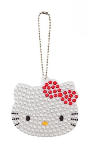 Hello Kitty Dot & Border Diecut Key Ring -  White