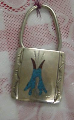 KEY CHAIN STERLING SILVER TURQUOISE CORAL TEE PEE NEW!