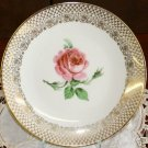 COLLECTOR BAVARIA PINK ROSE PLATE DISH MITTERTEICH GOLD