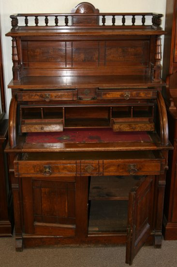 antique collectible furniture cylinder roll top desk writting table hutch locks. Black Bedroom Furniture Sets. Home Design Ideas