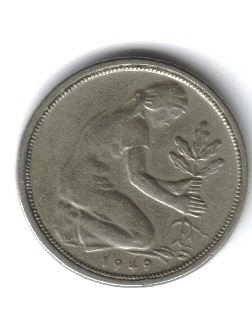 GERMANY 1949J 50 PFENNIG COIN