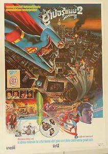 Rare 100% Original Superman 2 1980 Thai Movie Poster  Christopher Reeve