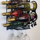 Wall Mount wine bottle/glass holder--holds 5 bottles/4 glasses