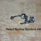 Naked Lady Reclining Rainbow CZ Navel 488