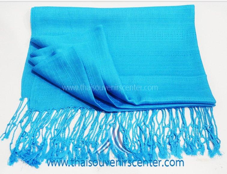 Thai Silk Scarf Shawl Plain Blue (Large)