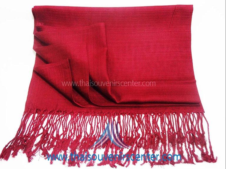 Thai Silk Scarf Shawl Plain Red (Large)