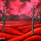 southwestern oil painting red cactus abstract art print