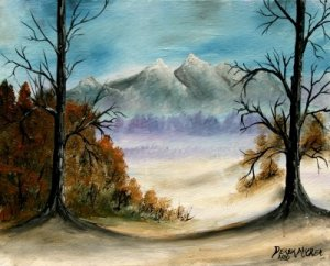 Mountains landscape oil painting art print