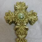 Gold Resin Scrolled Cross Rosary Box with Clear Crystal