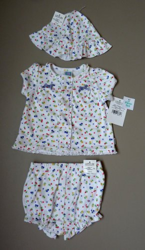 NWT, 9 months, Girls 3 Piece MATCHING Shirt, Bloomers, and Hat, LITTLE ME