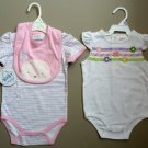 NWT Girls 6-9 months TWO bodysuits, 1 with matching bib