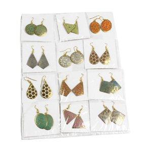 Set Of 12 Small Brass Earrings