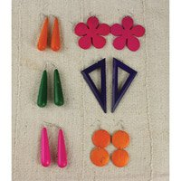 Set Of 6 Assorted Wood Earrings: Bright