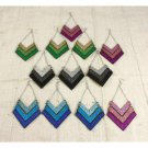 Set Of 12 Glitter Sparkle Blade Earrings