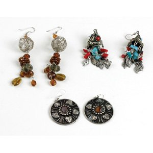 Set Of 3 Metal & Stone Earrings