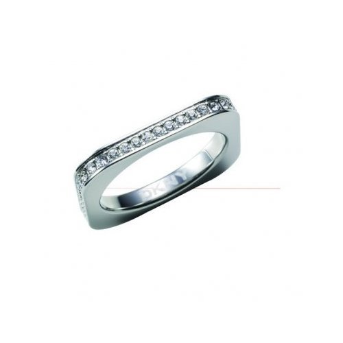 DKNY Polished Stainless Steel Ring With Crystals