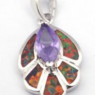Orange Fire Opal & Amethyst necklace pendent new W chain silver plated 33