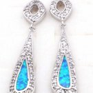 Blue opal Silver Plated earrings drop small rhinestone new dangle hooks post