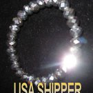 Silver glass bead crystal stretch bracelet can be used as loose beads