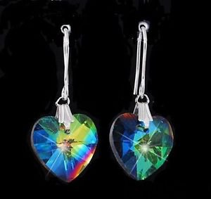 Earrings Swarovski Crystal dangle heart Aurora Borelais