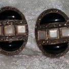 vintage Sterling silver marcasite onyx mother of pearl button earrings clip on