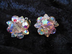 Vintage Aurora Borealis crystal clip on silver tone earrings
