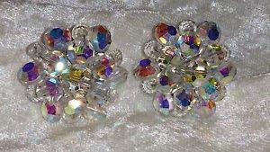 Vintage aurora borealis cluster button large earrings stunning
