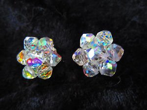 Vintage Small sliver tone earrings circle Aurora Borealis clip on