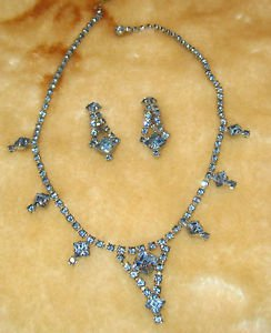 Sly Blue rhinestone vintage necklace earrings clip on vintage set
