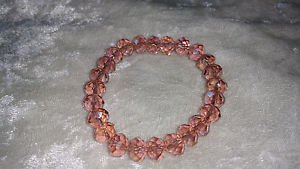 Salmon pink Glass crystal bead stretch bracelet lose stone