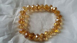 amber color Glass crystal bead stretch bracelet lose stone