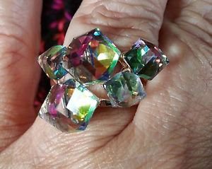 Geometic multi color CZ cube ring gold tone Cubes Rainbow  size 8  and size 7