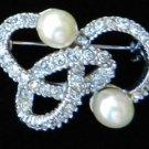 Vintage silver tone twisty snake faux pearl rhinestone pin brooch