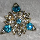 Vintage pin brooch art deco sky blue clear rhinestones clasp needs repair