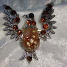 Vintage pin brooch eagle brown amber color rhinestones bird wings