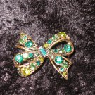 Green Rhinestone Bow Pin Brooch very pretty so Downton Abbey