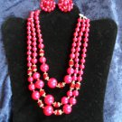 Vintage Fuchsia necklace earring set Japan gold tone red Crystals 3 strands