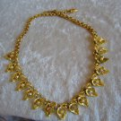 Vintage gold tone necklace faux pearl Aurora Borealis rhinestones Acorn leaf