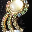 Vintage moon stone  multi color rhinestones beautiful pin brooch