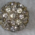 Vintage pin brooch Button clear cluster rhinestone pin some yellowing a bit