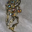 Gold tone Aurora Borealis rhinestone flower leafs abstract vintage pin brooch