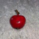 Red Apple gold leaf enamel worm hole LOL cute vintage pin brooch Teacher