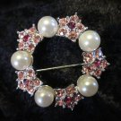 Vintage Pretty in pink rhinestone and faux pearl vintage pin brooch signed CW