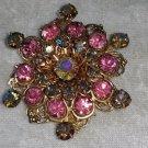 Vintage pin brooch pink Aurora Borelis  rhinestones wreath different stunning