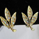 Aurora Borealis clip on feather leaf gold tone vintage earrings