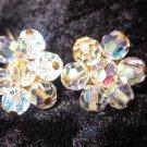 Aurora borealis glass crystal clip on earrings vintage how they sparkle